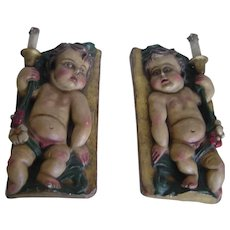 Early years 20th century Unusual Baroque Style Pair of Sconces | Polychrome Carved Wood Putti
