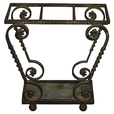 Mid-Century | Unusual Portuguese Vintage Scrolled Wrought Iron Umbrella & Cane Stand