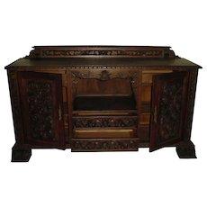 Handsome Antique Portuguese Solid Chestnut Wood Sideboard, Server, Buffet