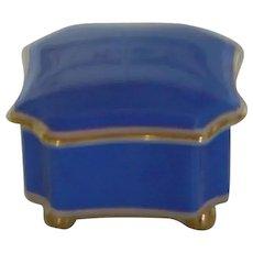 Mid-Century | Jewellery Casket, Trinket Decorative Box | Portuguese CANDAL Porcelaine | Light Blue Color w/ Gold