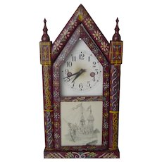 Mid Century   Unusual Mantel Clock   Wood Case with Typical South Portuguese Folk Art Painting