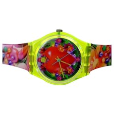 """Man's or Woman's SWATCH Collection   1996 RARE """"Love, Peace And Happiness"""" Watch ARTWORK by Micha Klein   Free Shipping"""