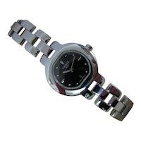 Vintage 1990's Tissot Stainless Steel Quartz Ladies Watch | Black Dial | As New