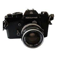 Vintage 1970's | SERVICED 35mm SLR Film Camera | Nikon Nikkormat EL c/w NIKKOR-S Auto 2.8 f=35mm Wide-Angle Lens