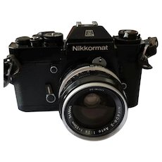 Vintage 1970's | SERVICED 35mm SLR Film Camera | Nikon Nikkormat EL c/w NIKKOR-S Auto 2.8 f=35mm Wide-Angle Lens