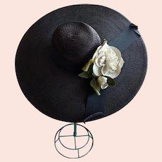 "Vintage ""Cecile"" wide brim straw hat 1940's hat"