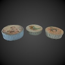 """set of 3 antique Boxes used as doll accessories display diameter 2 1/6"""" and 1 3/4"""""""