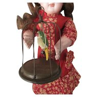 """4"""" birdcage with composition Parrot for dollhouse or doll display"""