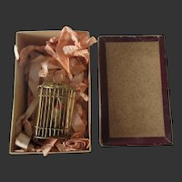 "2 1/2"" ormolu Birdcage in original box for dollhouse"