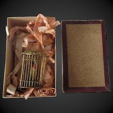 "2 1/2"" ormolu Birdcage in original box"