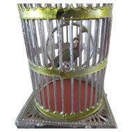 """3 2/3"""" antique Birdcage for dollhouse or a display with mignonettes"""