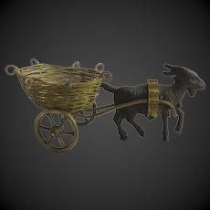 Goat with carriage for a dollhouse or a display with mignonettes