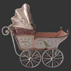 "Marklin doll carriage . antique pram 9"" long"