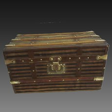 """Trunk for Bebe or doll . 15 1/3""""x8 1/4""""x8 1/4"""" . circa 1890"""