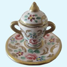 """1"""" miniature french porcelain Covered Pot"""