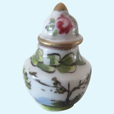 """1 1/6"""" miniature french porcelain Covered Pot with tea-pot mark"""