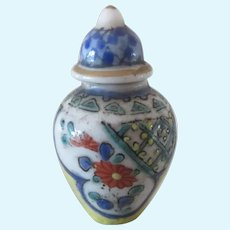 """1 1/3"""" miniature french porcelain Covered Pot with tea-pot mark"""
