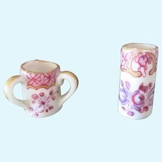 2 miniature french porcelain Vases with tea-pot mark