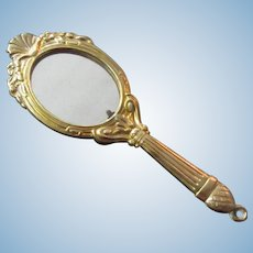 "4 1/8"" doll hand Mirror gilt metal"