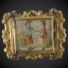"Triptych mirror for a dollhouse 2 1/6"" x 1 3/4"""