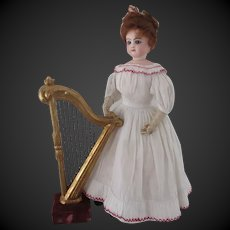 XIX° c wooden harp with gilt stucco for fashion doll display