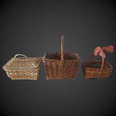 set of 3 antique Woven Baskets for dolls