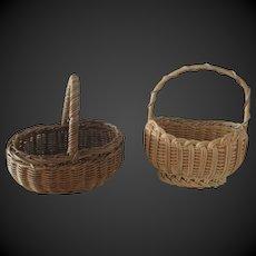 set of 2 antique Woven Baskets for dolls