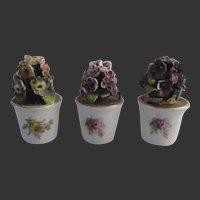 """set of 3 Porcelain flower pots circa 1900 Ht 2 1/6"""""""