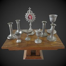 set of 9 religious items for dolls - pewter France 1900