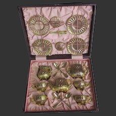 unusual copper tea service complete in box by P. Mayoli