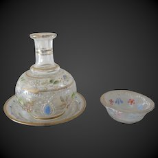 set of 3 pieces in Enamel Glass France late 19th century