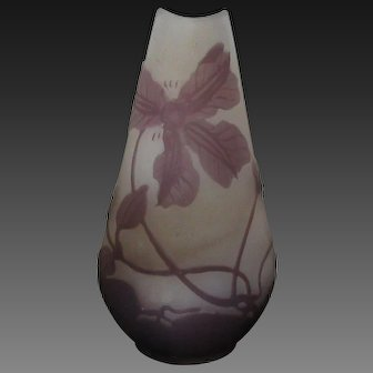 "display for doll or bebe : 4"" Gallé cameo glass vase c. 1900"