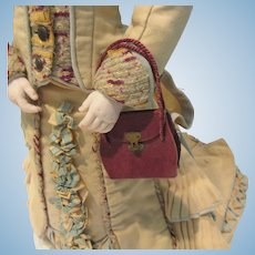 """leather Bag for fashion doll, 2""""x2 1/4"""" and 4"""" with handles"""