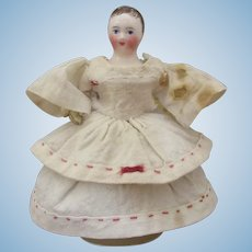 """4 1/3"""" early French leather body doll with China head for dollhouse"""