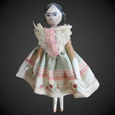 """4 1/8"""" antique Wooden doll"""