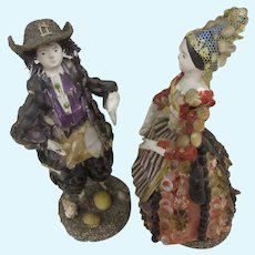 """4 2/3"""" couple of shell dolls c. 1830 with provenance : French Museum"""