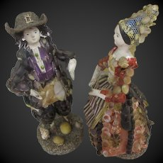 "4 2/3"" couple of shell dolls c. 1850 with provenance : French Museum"