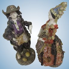 "4 2/3"" couple of shell dolls c. 1830 with provenance : French Museum"