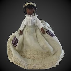 "early  french black leather doll POPOTE 7 1/4"" HTF"