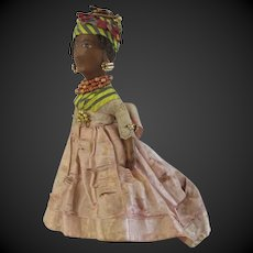 early  french black leather doll POPOTE all original with jewels in Gold