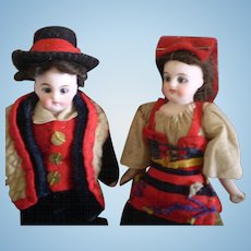 for Dollhouse : couple of german folkl dolls, 4 3/4in