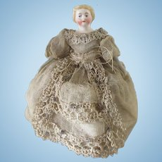 4 inch doll for a Dollhouse, 19th cent , antique clothes