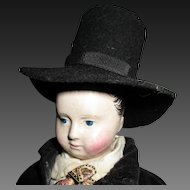 French papier mache doll with french folkl costume, 14 1/2 in