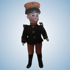 """8"""" german open-closed mouth doll B 16/0 - Original military costume"""