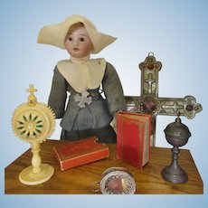 """9"""" small Nun with german bisque head and original clothes"""