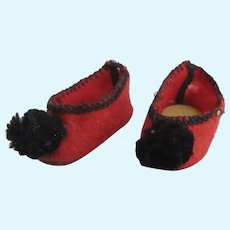 original G.L. slippers for Bleuette doll, 1920's