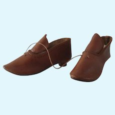 antique Leather Shoes incised 6 length 3 1/6""