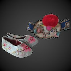 set of shoes and hat for large Asiatic doll