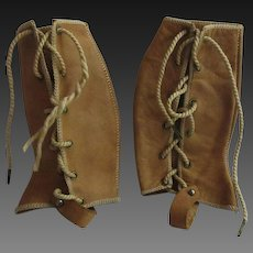 pair of leather Gaiters for Bebe Jumeau