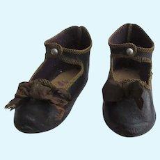 Jumeau size 10 . original leather shoes incised BEBE JUMEAU